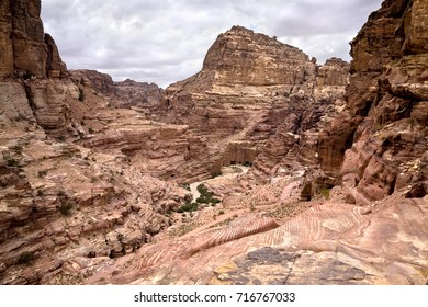 Magnificent view of Petra in Jordan. The ancient rock caves