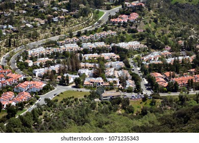 A magnificent view to the residential area of the Pacific Palisades from the top of the Topanga Canyon. California.