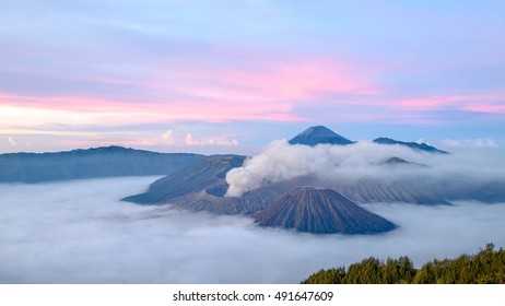 Magnificent view of the sunrise over wonderful Mount. Bromo at Bromo tengger semeru national park, East Java, Indonesia