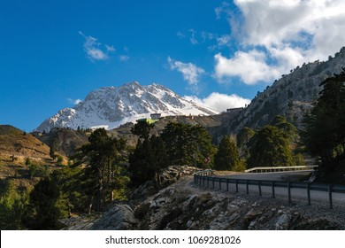 Magnificent view of Taurus mountains with snow covered peaks in the first spring, from the Saklikent in Antalya-Turkey