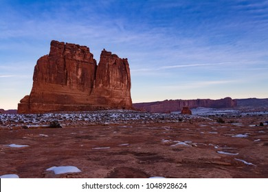 "Magnificent view of ""The Organ"" during the winter in Arches National Park in Moab, Utah USA."