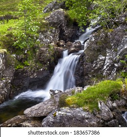 A magnificent waterfall in the Scottish back country.