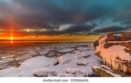 Magnificent winter mountain landscape on the sea. Paldiski cliff. Estonia.