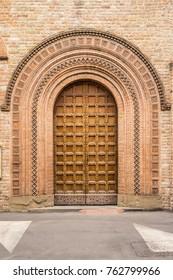 Magnificent wooden door of a church