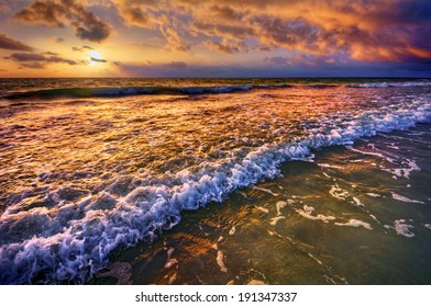 Magnificently colorful beach vacation sunrise 1