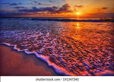 Magnificently colorful beach vacation sunrise 2