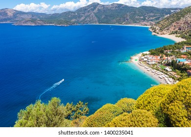 Magnificiet green coastline of Fethiye with endless shades of blue in the sea