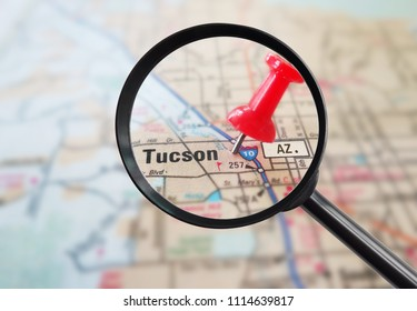 Magnified closeup of Tucson Arizona map with red pin
