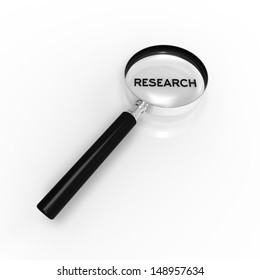 Magnified Research word illustration on white background.