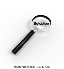 Magnified Solution word illustration on white background.