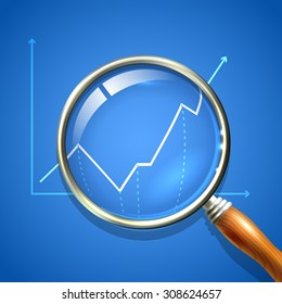 Magnifier and chart analysing business finance diagnostics data search concept  illustration