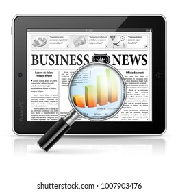 Magnifier Enlarges Chart in Business News on Tablet PC, isolated on white background