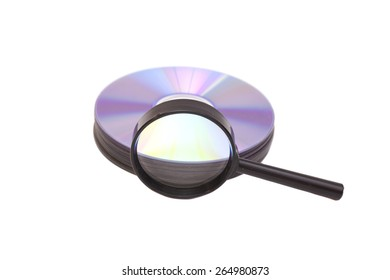 Magnifier glass and DVD isolated