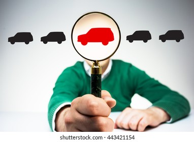 Magnifier with red car icon instead of man's head on light background with black car icons. Concept of choice