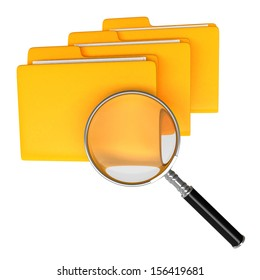 Magnifying and folder. Isolate on white background. Document search concept.
