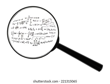 A magnifying glass against white background increased mathematical formulas.