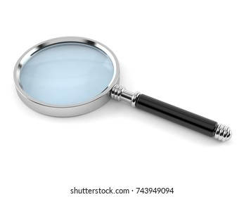 magnifying glass concept isolated on white background. 3d illustration