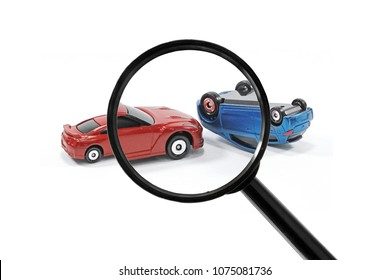 Magnifying glass of detective investigate car crash accident.