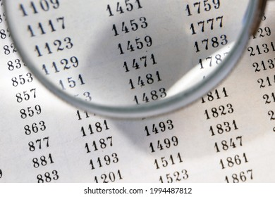 magnifying glass and document with figures, data encrypt with magnifying glass. Cipher encryption code or data, closeup