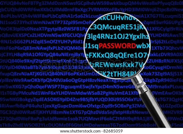 Magnifying glass focused on PASSWORD in middle of digital code