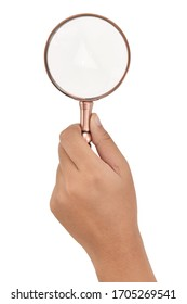 Magnifying glass Hand holding magnifying glass isolated on white background. This has clipping path.