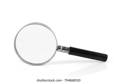 A magnifying glass or magnifying glass have a white background.
