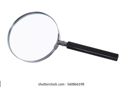 Magnifying glass with illumination. Hand magnifier for reading on a white background.
