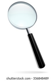 Magnifying glass illustration isolated on white.