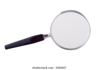 Magnifying glass isolated on a white background. This magnifier photographed standing on its edge.