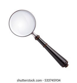 Magnifying glass isolated on white with path