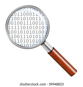 Magnifying glass with numbers
