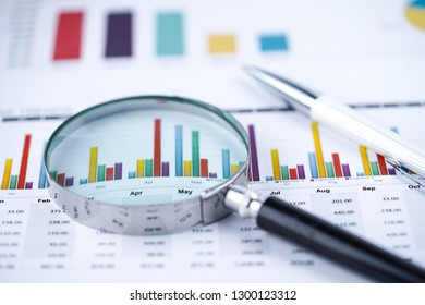 Magnifying glass on charts graphs spreadsheet paper. Financial development, Banking Account, Statistics, Investment Analytic research data economy, Stock exchange trading, Business office company meet