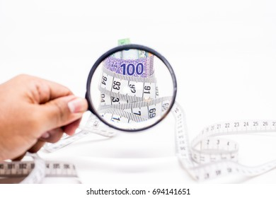 Magnifying Glass on Measuring Tape tightening Malaysia Ringgit Banknotes. Identifying Cost Saving concept. White Background. Shallow depth of field