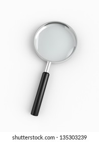 Magnifying glass on white background 3d render