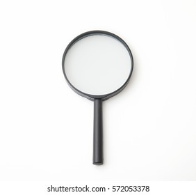 the magnifying glass on white background