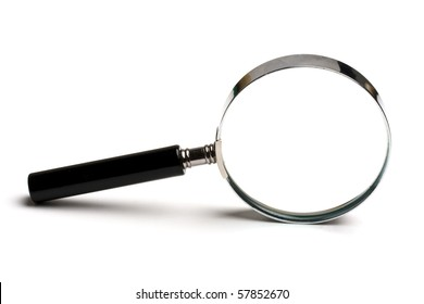 Magnifying glass on white background closeup