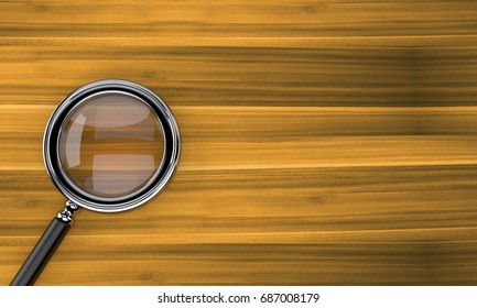 Magnifying glass on wooden background. 3d illustration