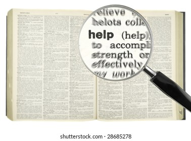 A magnifying glass on the word HELP on a dictionary.