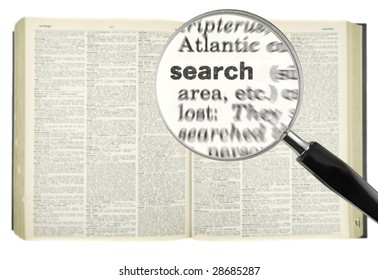 A magnifying glass on the word SEARCH on a dictionary.