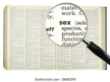 A magnifying glass on the word SEX on a dictionary.