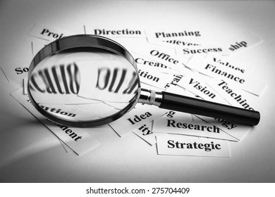 Magnifying glass and lot of other business concept words paper is showing the concept of business vision.