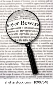 "Magnifying glass over contract document, highlighting words ""buyer beware."""