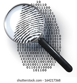 Magnifying glass over finger printlike shape made of binary code, 1 and 0 numbers, showing analog finger print, digital to analog, 3d rendering on 1-0-background