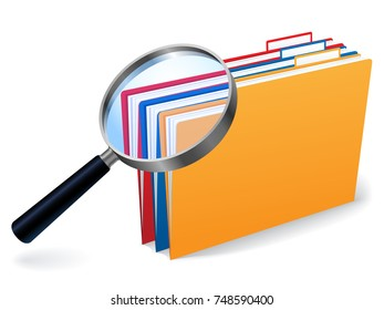A magnifying glass over a group of files and folders.