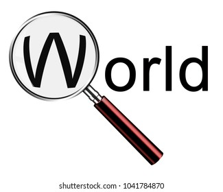 Magnifying glass searching world with red handle