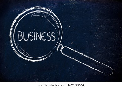 magnifying glass seeking business opportunities