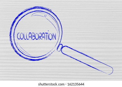 magnifying glass seeking collaboration and teamwork in business