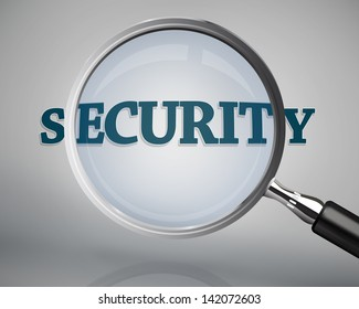 Magnifying glass showing security word on grey background