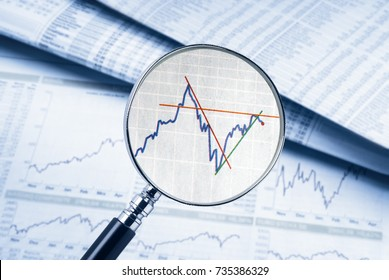Magnifying glass shows a share price. In the background rate tables and charts can be seen.