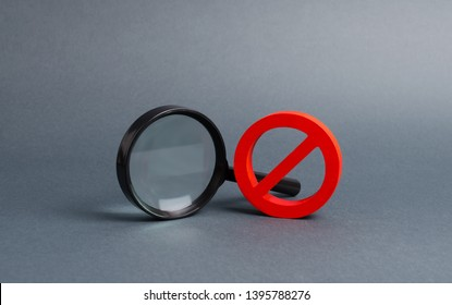 Magnifying glass and symbol NO. Find the information you need, bans and secrecy. Freedom of information and speech. Nonexistent places things. search and inability to find. No search results.